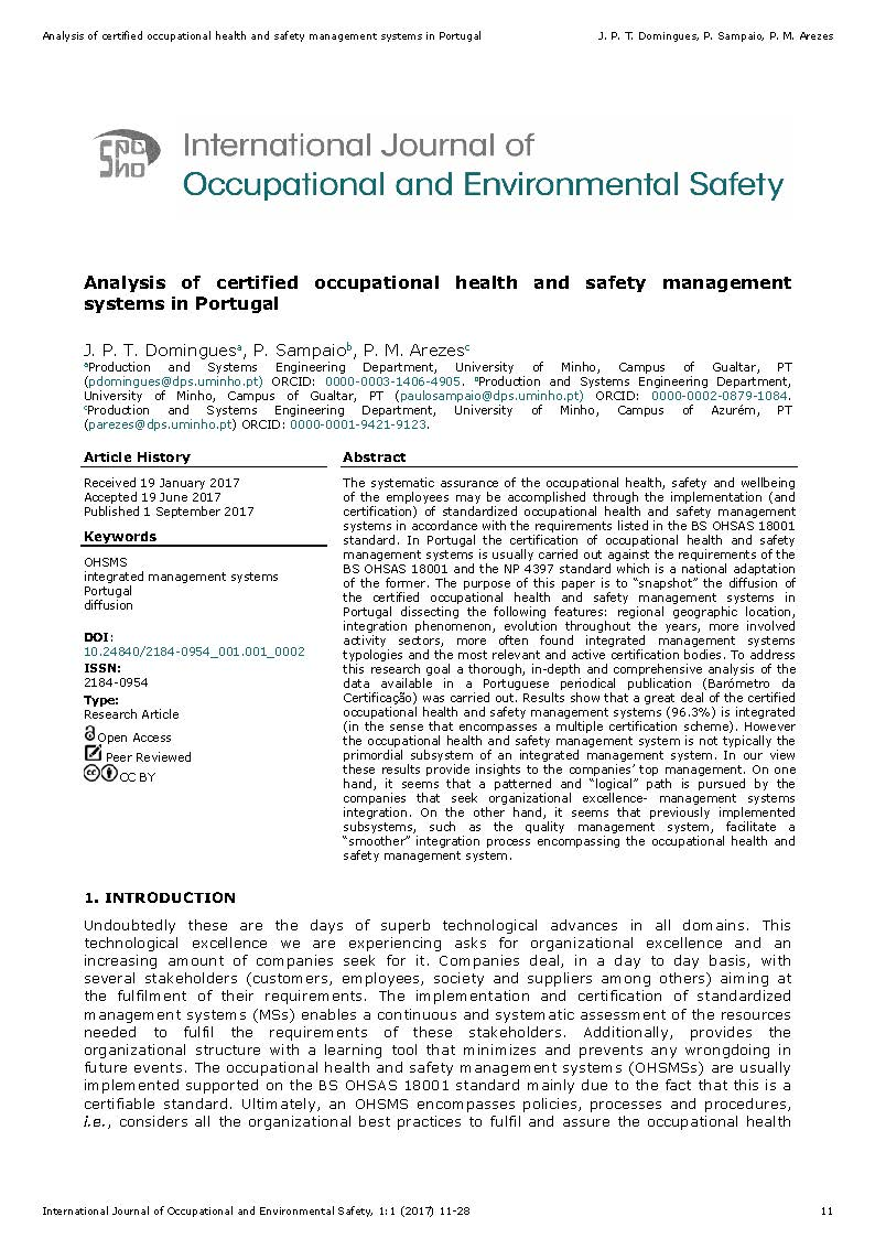 Analysis of certified occupational health and safety management