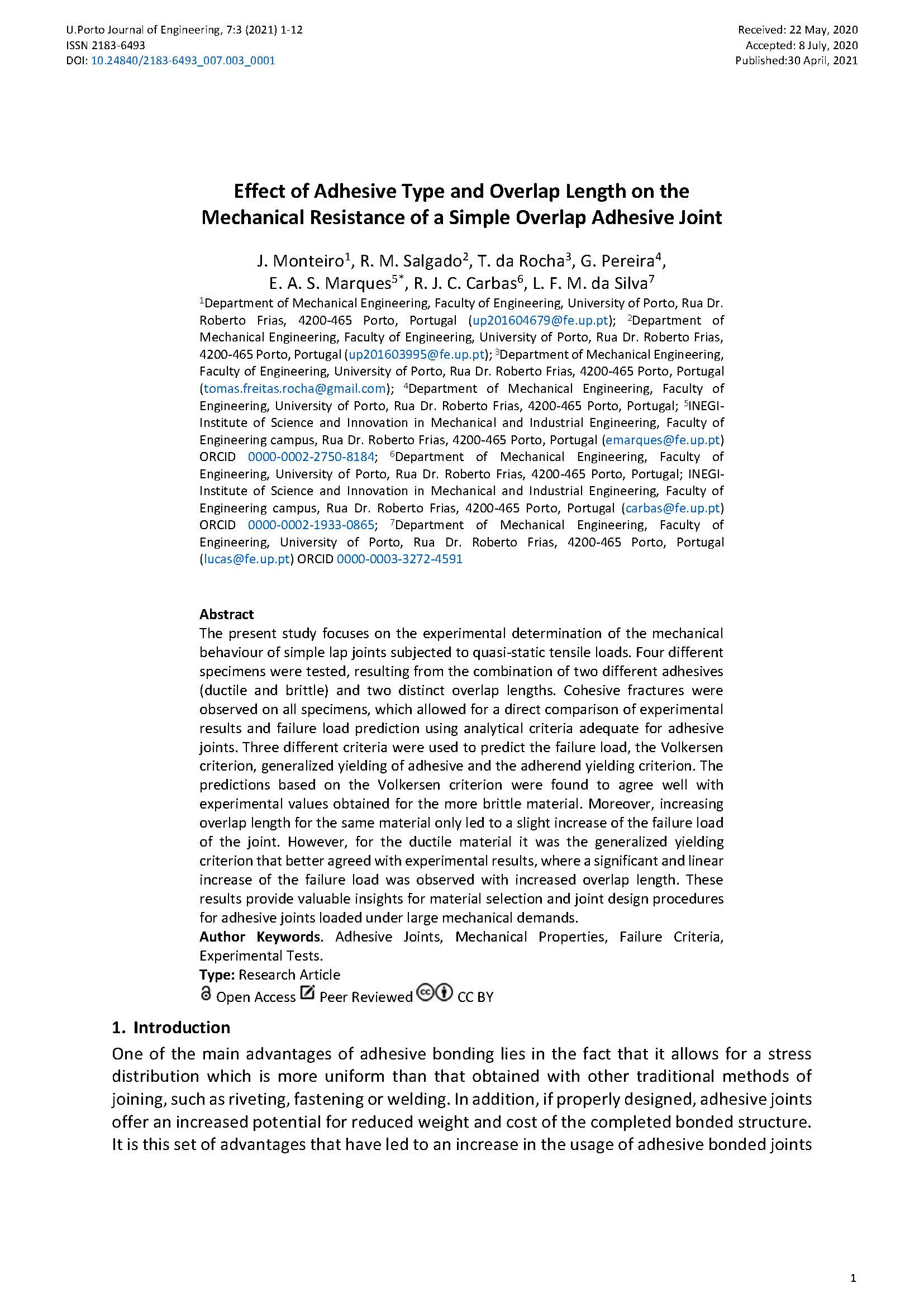 Effect of Adhesive Type and Overlap Length on the Mechanical Resistance of a Simple Overlap Adhesive Joint